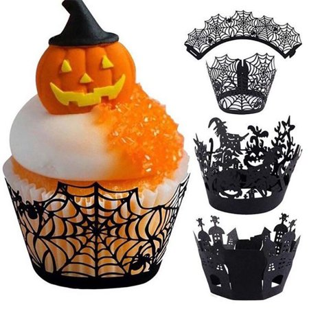 Cupcake Wrappers, 12CPS of Halloween Party Witch Laser Cut Paper Cupcake Wrappers Wraps Liners Black - Cupcake For Halloween
