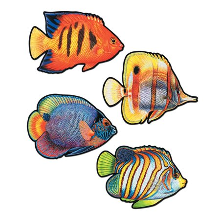 Club Pack of 48 Vibrant Colorful Tropical Coral Reef Fish Cutout Decorations 16