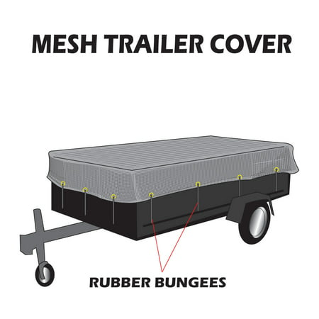 8x24 Utility Trailer Mesh Cover With 10 pcs of Rubber Bungee Tie-down, Great to Cover Open Trailer Preventing Debris Flying Out, Made by Xtarps (Open Trailer)