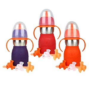 The Safe Sippy 2 2-in-1 Sippy to Straw Bottle, 3 Pack, Red/Purple/Orange