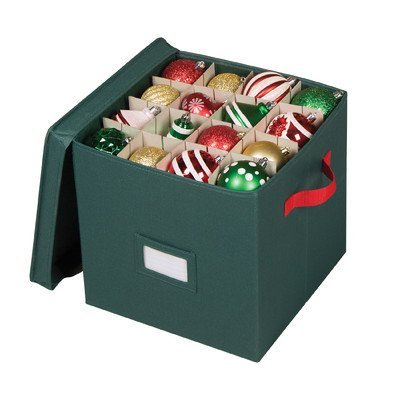 Cube Ornament Organizer Richards Homewares with 64 Compartment In Holiday Green ()
