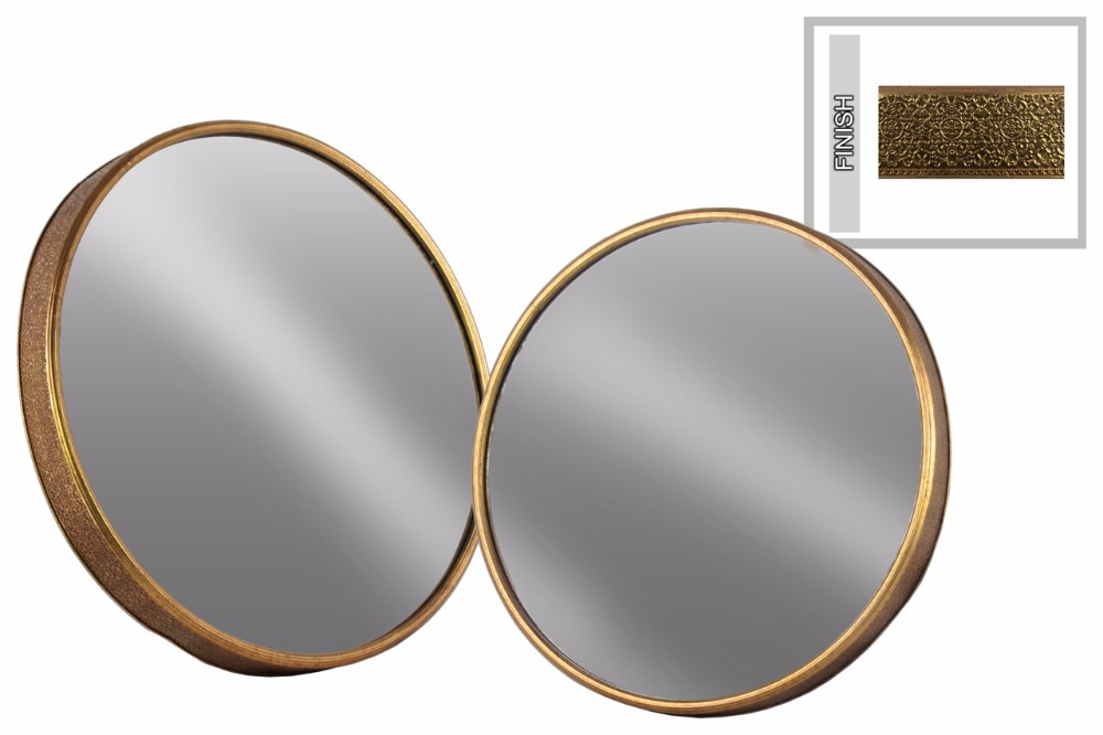 Ravishing Metal Round Wall Mirror Set of Two Tarnished- Gold- Benzara by Benzara