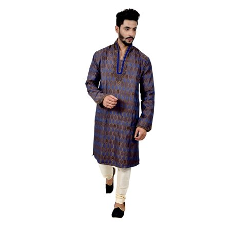 Indian Traditional Brocade Silk Multicolour Kurta Pajama for Men. This product is custom made to order. - image 1 de 6