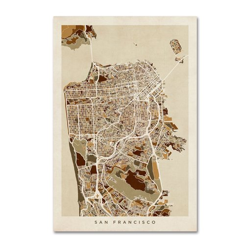 "Trademark Fine Art ""San Francisco City Street Map"" Canvas Art by Michael Tompsett"