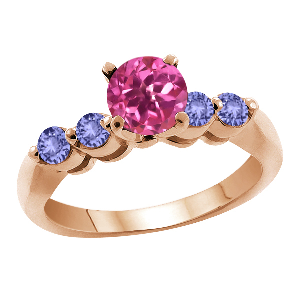 1.32 Ct Round Pink Mystic Topaz Blue Tanzanite 18K Rose Gold Engagement Ring by
