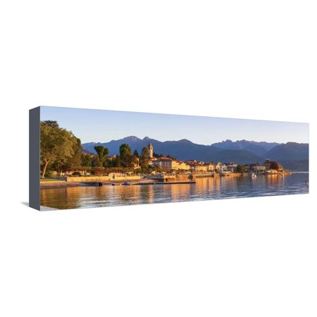 The Idyllic Lakeside Village of Baveno Illuminated at Sunrise, Lake Maggiore, Piedmont, Italy Stretched Canvas Print Wall Art By Doug Pearson
