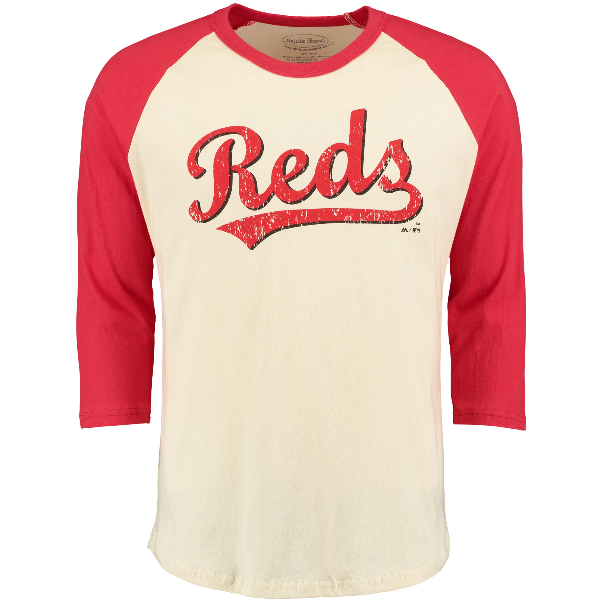 Cincinnati Reds Majestic Threads Softhand Vintage Cooperstown Three-Quarter Raglan Sleeve T-Shirt - Cream/Red