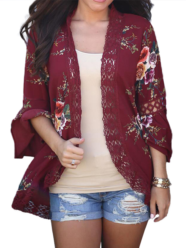 JustVH Women's 3/4 Bell Sleeve Boho Floral Kimono Cardigan Cover up Lace Stitching Blouse Top