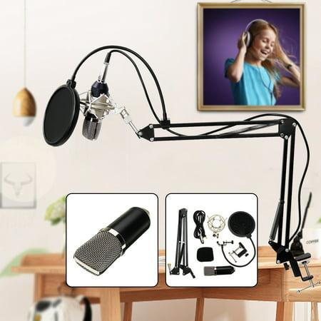 Condenser Microphone Mic Clip Studio Audio Recording Table Arm Stand Set Gift - image 1 de 12