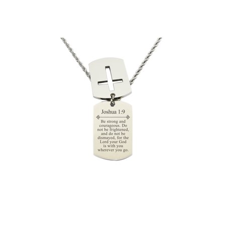 Mens Scripture Double Tag Necklace - Joshua 1:9