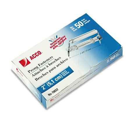 """ACCO Premium Two-Piece Paper File Fasteners, 2"""" Cap., 2 3/4"""" Center, Silver, 50/Box"""
