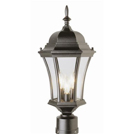 Trans Global Lighting 4504 Bk The Standard 3 Light Outdoor Post Top Black