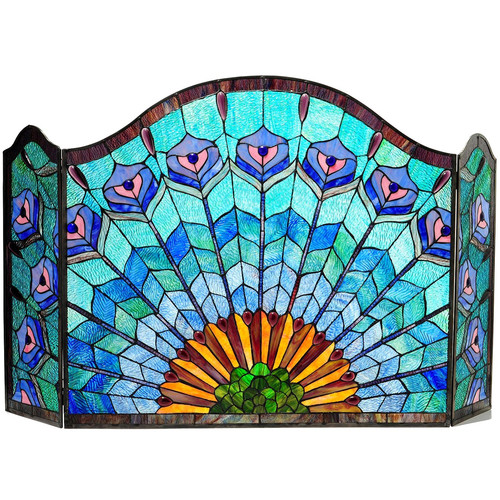 "CHLOE Lighting REGAL EUDORA Tiffany-glass 3pcs Folding Peacock Fireplace Screen 48"" Wide"