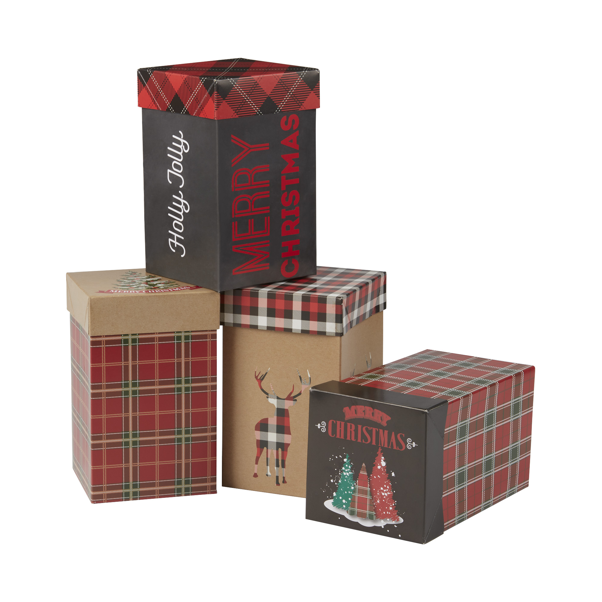 Holiday Holiday Gift Boxes, Plaid, 4 Count