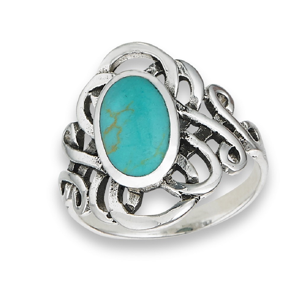 925 Sterling Silver Long Synth Blue Turquoise Filigree Ring Size 6 7 8 9