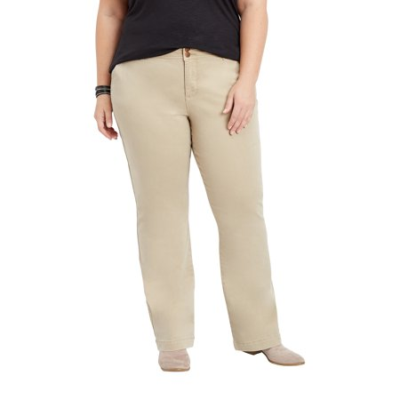 Plus Size Khaki Chino Bootcut Pants