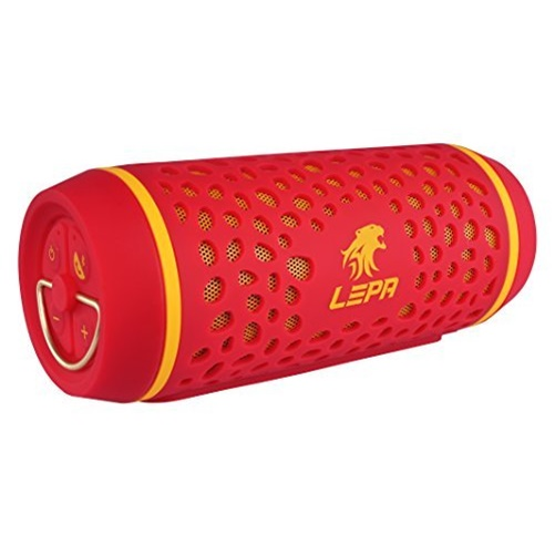 LEPA BTS02 Portable Water-Resistant Bluetooth Speaker - Red