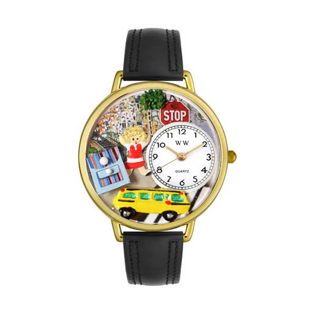 Whimsical School Bus Driver Black Skin Leather And Goldtone Watch