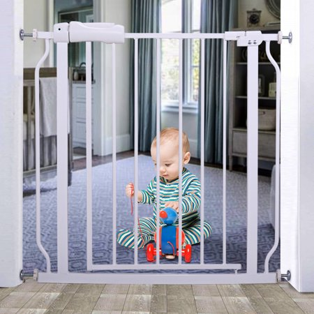 Jaxpety Baby Safety Gate Indoor Walk Through Toddler Child Pet Metal Gate Easy Locking System