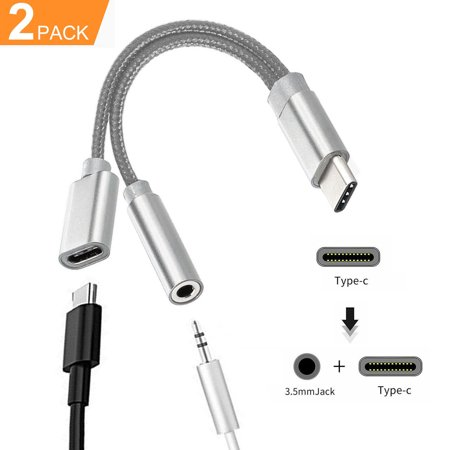 2-pack USB Type C to 3.5mm Audio Headphone Stereo Microphone Female Cable Adapter Connector, for Samsung Galaxy S9 8 7/Note 9 8, Nexus 5X, Type C Port Devices