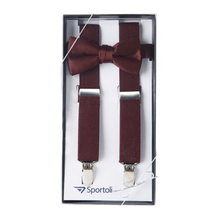 Boys' and Girls' Kids Toddlers and Baby Adjustable Elastic Solid Color Fashion Suspenders and Bow Tie Gift Set for Wedding and Ring Bearer Outfits, Leather Crosspatch and Super Quality Clips
