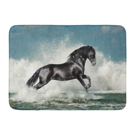 Silver Wave Mat (GODPOK Horse Silver Splash Black Andalusian Stallion Runs Through The Sea Wave Foam Blue Emotions Nature Rug Doormat Bath Mat 23.6x15.7 inch)