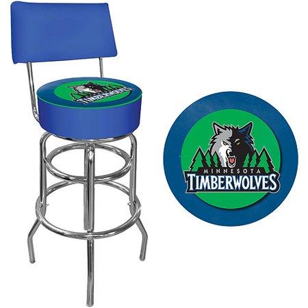"Trademark NBA Minnesota Timberwolves 40"" Padded Swivel Bar Stool with Back, Chrome by"