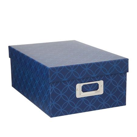 Decorative Photo Storage Box: Blue Interlocking](Decorative Storage Containers)