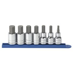 GearWrench 80720 7 pc. 3/8 in. and 1/2 in. Dr. Metric Hex Bit Socket Set