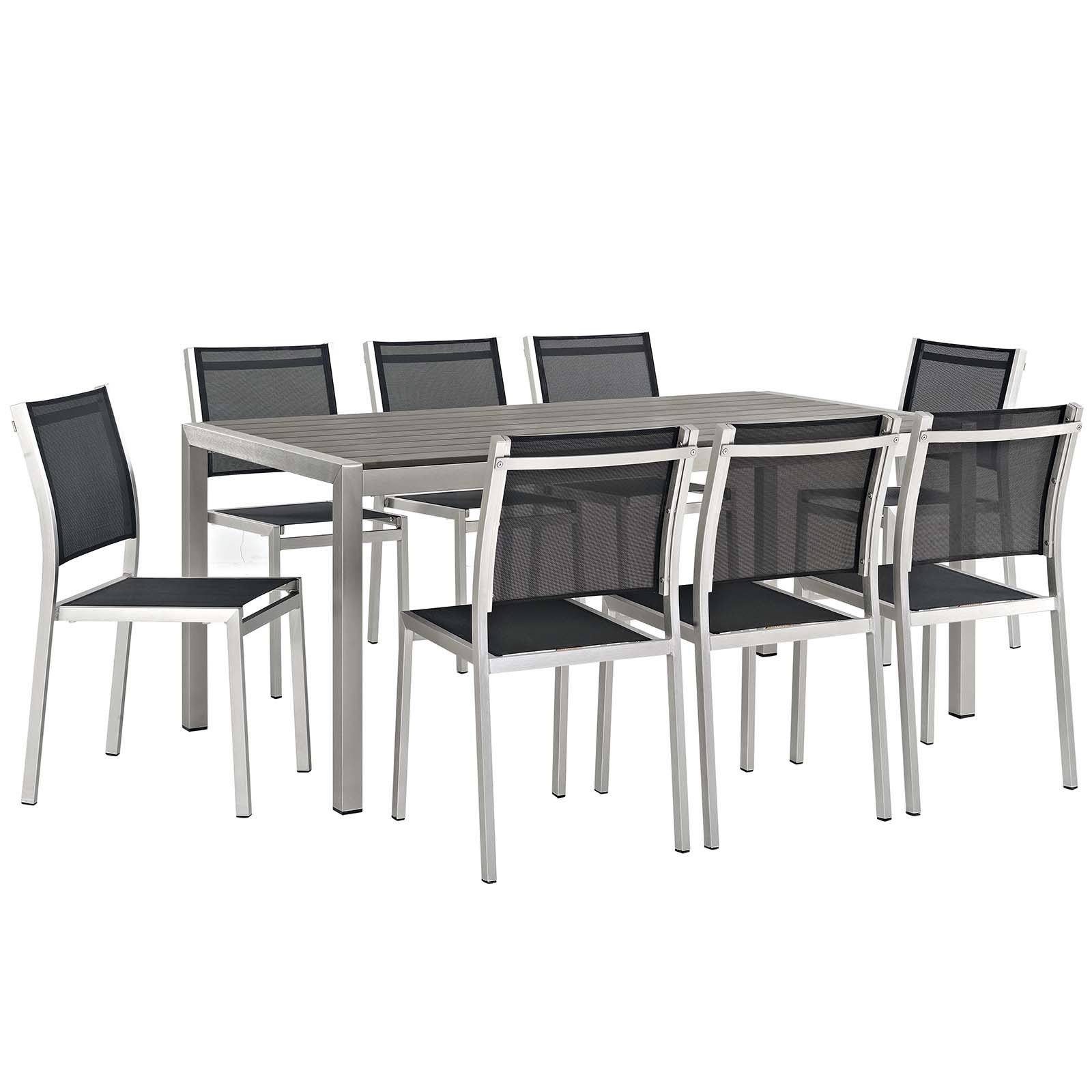 Modway Shore 9-Piece Outdoor Patio Aluminum Dining Set, Silver Black