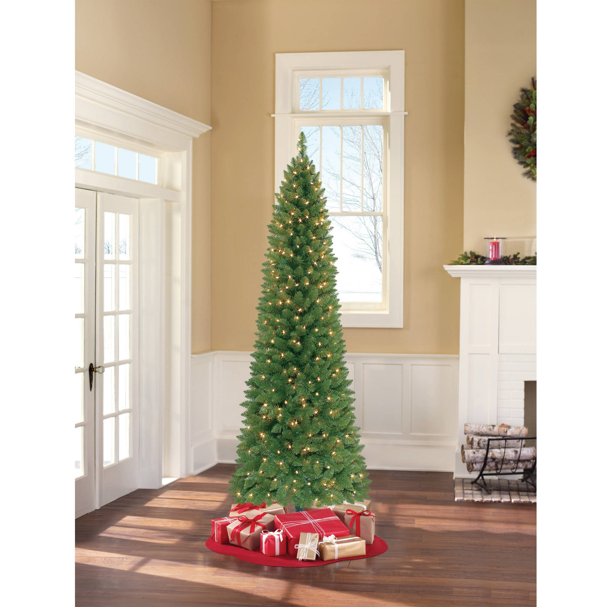 Holiday Time Pre-Lit 7' Brinkley Pine Artificial Christmas Tree, Clear Lights