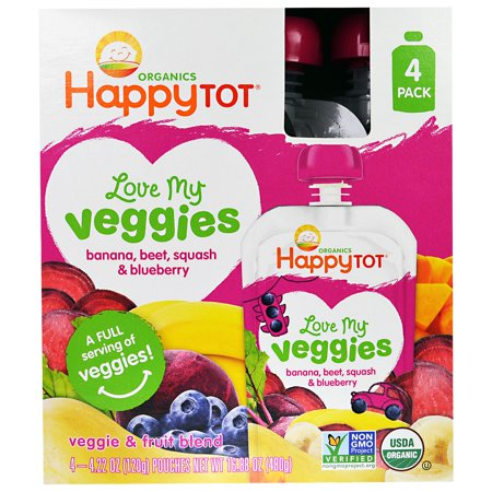 Nurture Inc. (Happy Baby), HappyTot, Love My Veggies, Banana, Beet, Squash & Blueberry, 4 Pouches, 4.22 oz (120 g) Each(pack of 1)