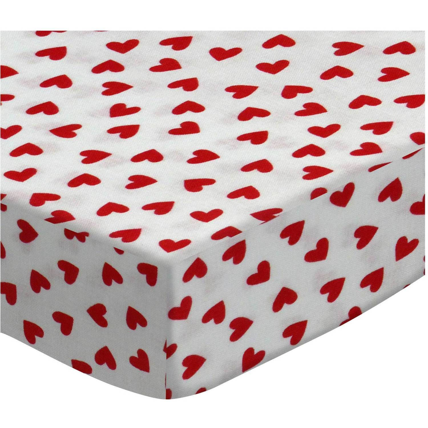 SheetWorld Fitted Sheet (Fits BabyBjorn Travel Crib Light) - Primary Hearts Red Woven