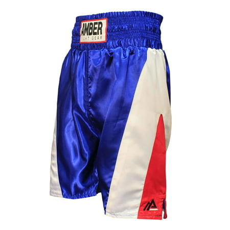 Amber Fight Gear Defender Pro Style Boxing Kickboxing Muay Thai MMA Training Gym Clothing Shorts Trunks Red White Blue