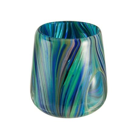 Museum Glass (Museum Of Fine Arts 5 Inch Blue & Green Glass Votive Holder )