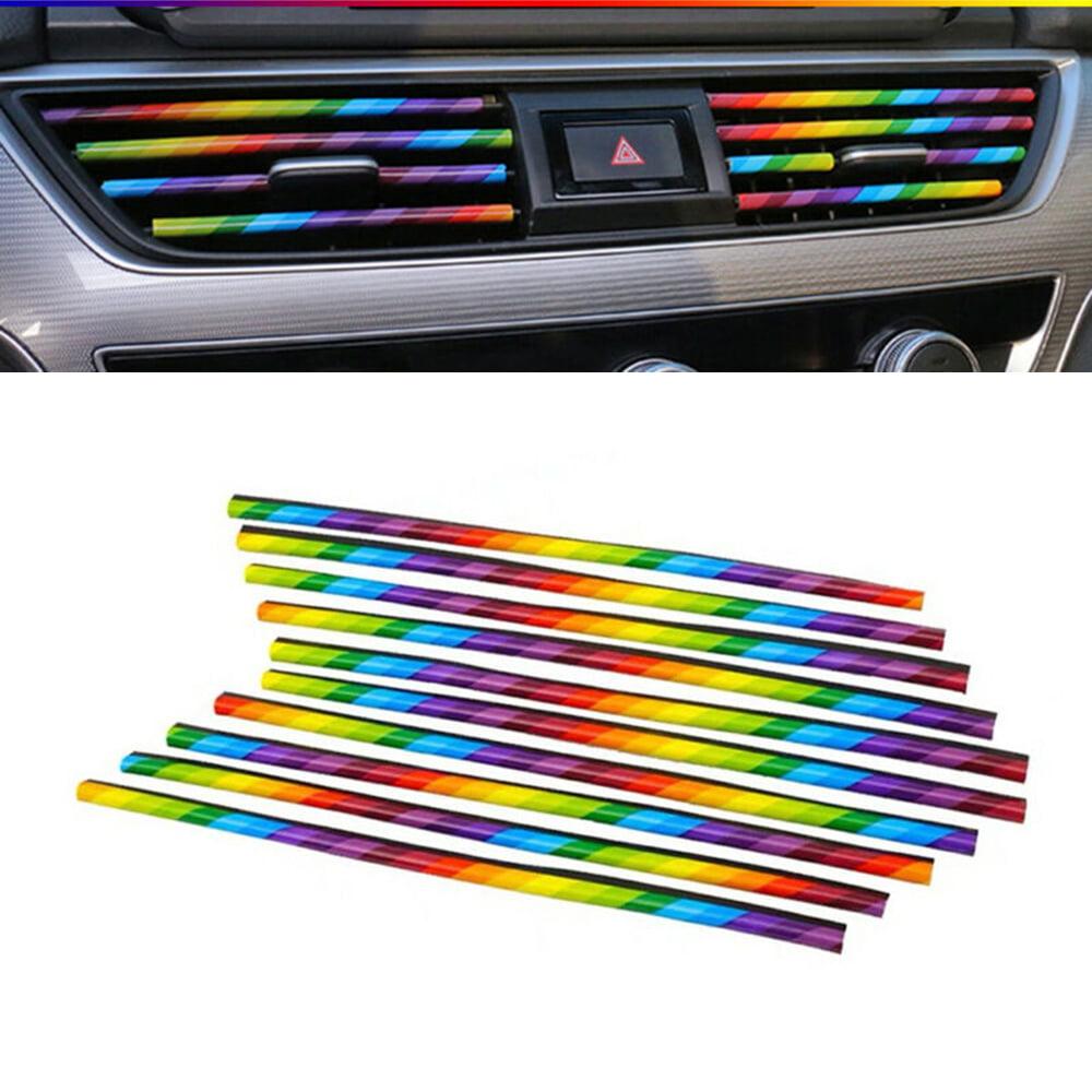 Blue 10 pcs Decoration Bright Strip Colorful Air Conditioner Air Outlet Decoration Strip Car Air-conditioning Vent Bar Universal 20cm