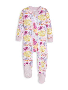 Burt's Bees Baby Organic Cotton Baby Girl Snug Fit Footed Sleeper Pajamas