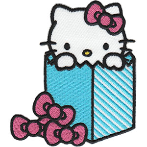 "HELLO KITTY IN BAG, Officially Licensed, Iron-On / Sew-On, Embroidered PATCH - 3"" x 3.5"""