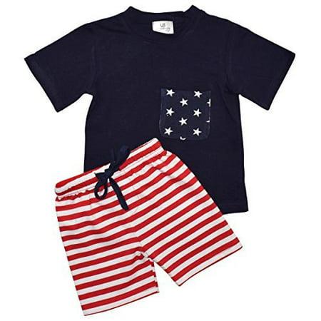 Unique Baby Boys 4th of July Patriotic 2-Piece Summer Outfit (12 Months, Blue) - Unique Kid Clothes