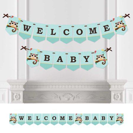 Owl - Baby Shower Bunting Banner - Aqua Party Decorations - Welcome Baby (Baby Shower Decorations Owls)
