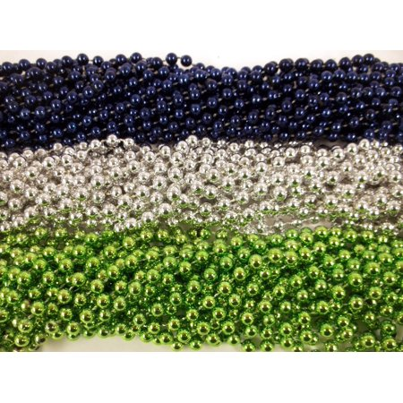 36 Seahawks Blue Silver Lime Green Metallic Mardi Gras Beads Party Favors 3 - Seahawks Party