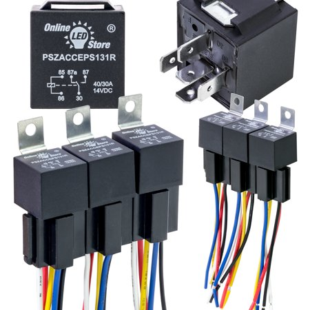 OLS 12V 30/40 Amp 5-Pin SPDT Bosch Style Electrical Relay Harness Set - Pack of 6