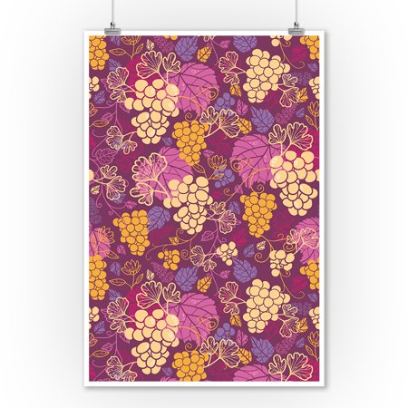 Wine Grapes & Leaves Pattern - Lantern Press Artwork (9x12 Art Print, Wall Decor Travel Poster)