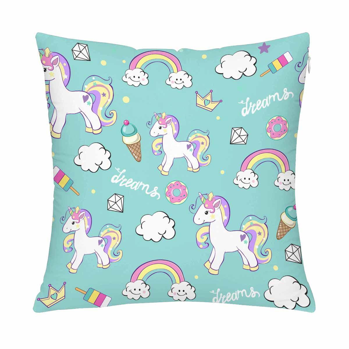 MKHERT Beautiful Unicorns With Diamond Ice Cream And Clouds Pillow Covers Pillowcase Throw Pillows 18x18 inch