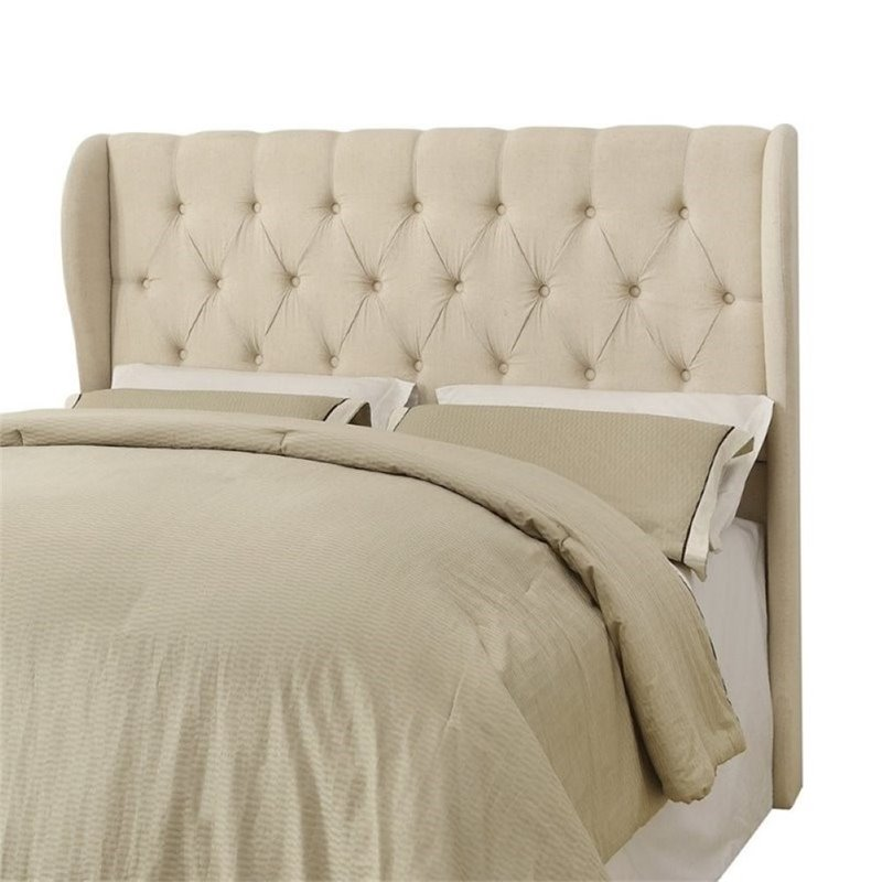 Bowery Hill Upholstered King Headboard in Beige