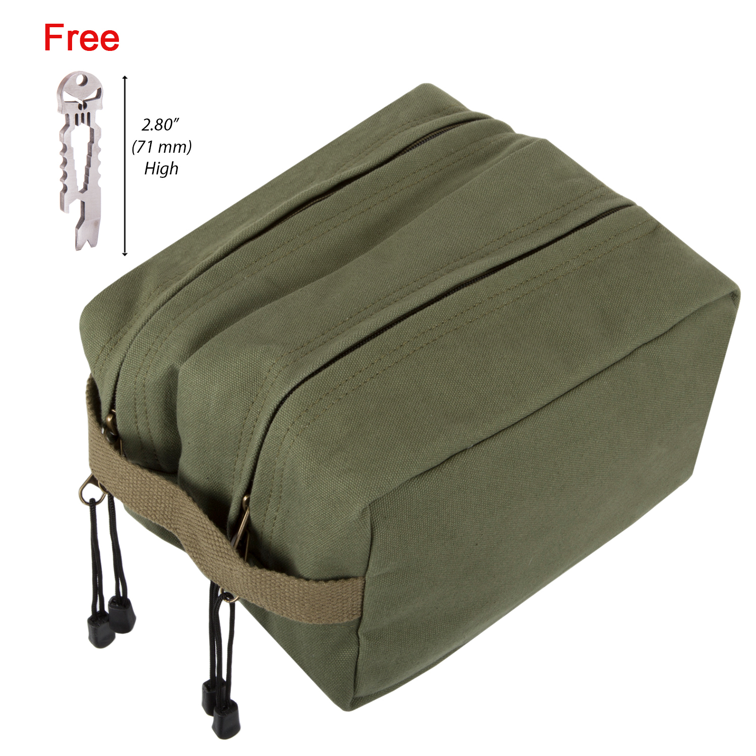 Canvas Dual Compartment Travel Toiletry Bag with FREE Punisher Tool