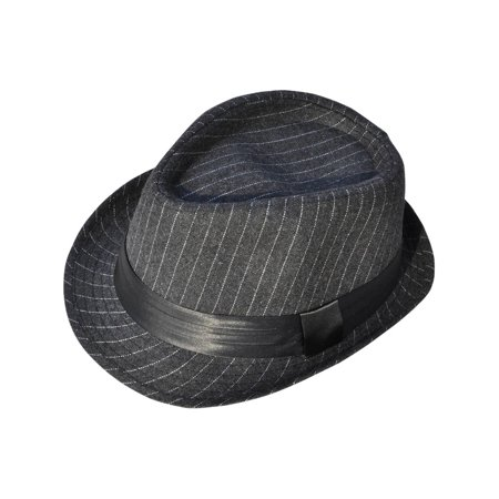 Short Brim Teardrop Crown Pinstriped Wool Fedora Hat 3075_Charcoal Gy