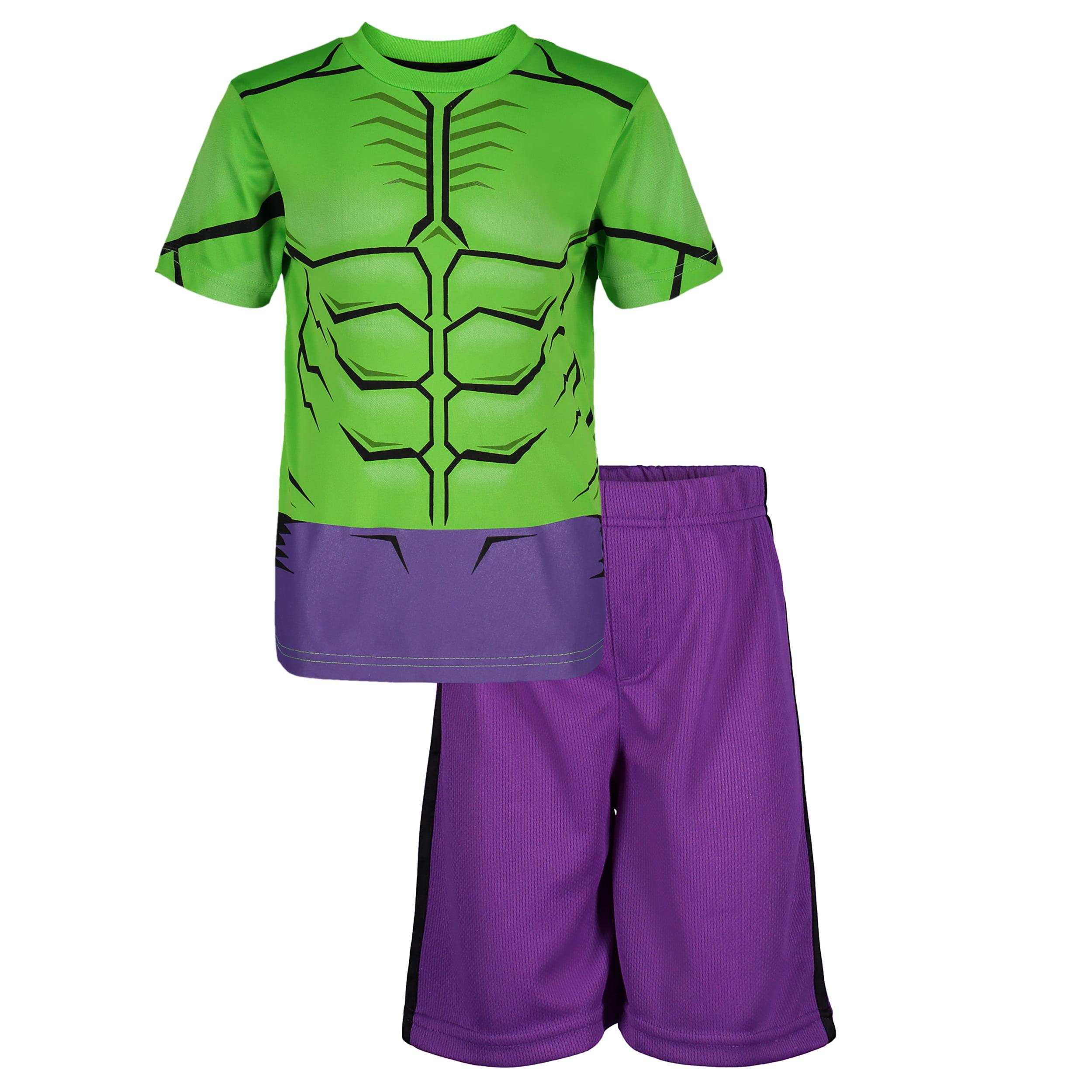 66a98056ab6 Marvel Avengers Hulk Little Boys' Athletic T-Shirt & Mesh Shorts Set,  Green/ Purple (7)