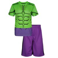 Marvel Avengers Hulk Little Boys' Athletic T-Shirt & Mesh Shorts Set, Green/ Purple (7)