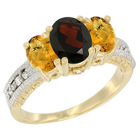 14K Yellow Gold Diamond Natural Garnet Ring Oval 3-stone with Whisky Quartz, sizes 5 - 10 14k Gold Natural Garnet Ring